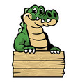 cute cartoon crocodile vector image vector image