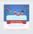 cute kids celebrating birthday with cake happy vector image