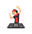 dj girl in headphones playing track and dancing vector image vector image