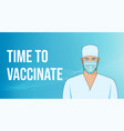 doctor in mask on blue abstract background vector image