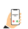 emergency phone call hand holding phone vector image vector image
