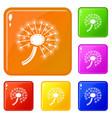 fresh dandelion icons set color vector image vector image