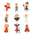 funny kid characters dressed in halloween costumes vector image