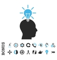 Genius Bulb Flat Icon With Bonus vector image