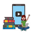 girl with laptop and books education online vector image vector image