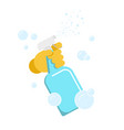 hand in glove with the spray bottle vector image vector image
