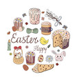 happy easter holiday easter cakes willow twig vector image vector image