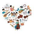 heart-shaped musical pattern and children vector image