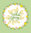 hello spring beautiful greeting card with flowers vector image