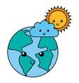 kawaii world cloud and sun cartoon vector image vector image