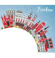 krakow poland city skyline with color buildings vector image