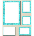 Light blue mosaic page layout border template set vector image vector image