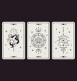 magic occult cards vintage hand drawn mystic vector image vector image