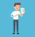 man with checklist in hand vector image