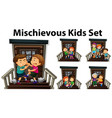 many mischievous kids at front door vector image