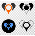 map pointers eps icon with contour version vector image vector image