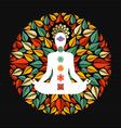 Nature mandala with yoga pose and chakra icons vector image vector image