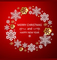 red holiday background with snowflakes vector image vector image