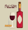red wine bottle and cup label vector image