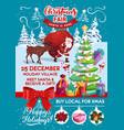 santa claus christmas fair gifts and xmas tree vector image vector image