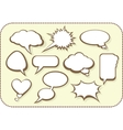 set comic bubbles and elements with shadows vector image