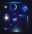 set of transparent lens flares and lighting vector image