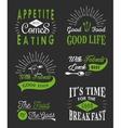 set vintage food typographic quotes vector image vector image