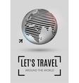 Shiny world globe with plane icon vector image vector image