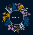 spring blooming trees wreath design hand drawn vector image vector image