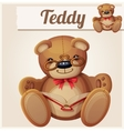teddy bear in glasses read book vector image vector image
