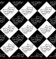theater masks black and white seamless pattern vector image