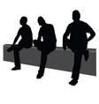 three men sit on the fence vector image vector image