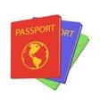 Three passports cartoon icon vector image vector image