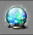 Transparent realistic bright glowing crystal ball vector image