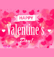 valentines day card bright pink hearts with text vector image vector image