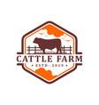 vintage angus cow logo design template vector image vector image