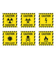 warning signs set - danger radiation biohazard vector image vector image