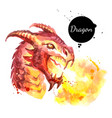 watercolor hand drawn dragon head spitting fire vector image