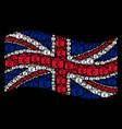 waving uk flag pattern of euro checkbook items vector image vector image