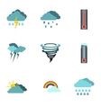 Weather outside icons set flat style vector image vector image