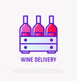 wine box thin line icon vector image