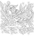 Hand drawn zentangle bird sitting on blooming tree vector image