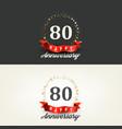 80 years happy anniversary banners vector image