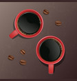 a realistic cup of coffee with vector image vector image