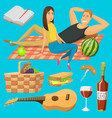 adult couple on picnic plaid barbecue outdoor vector image vector image