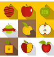 apple label icons set flat style vector image vector image