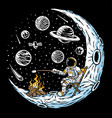 astronauts burn marshmallows hand drawn vector image vector image
