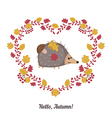 autumn background with cute hedgehog vector image