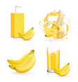 banana juice collection banana drink package vector image