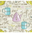 Beige seamless patterns with tea set vector image